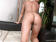 Nymph babe Kathia Nobili can\'t wait to totally toy on her pussy on the couc...