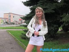 PublicAgent Blonde MILF is tricked into sex outdoors for cash