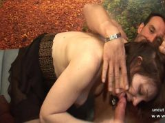 Pretty amateur french brunette hard analized DP n facialized