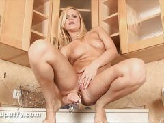 Masturbation on the kitchen side