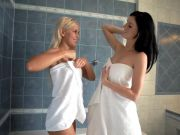 Cute blonde Lesbian Fucks Brunette Girlfriend in the shower
